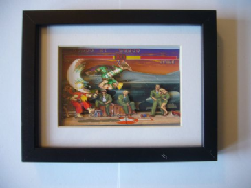 Street Fighter 2 Guile Stage 3D Diorama Shadow Box